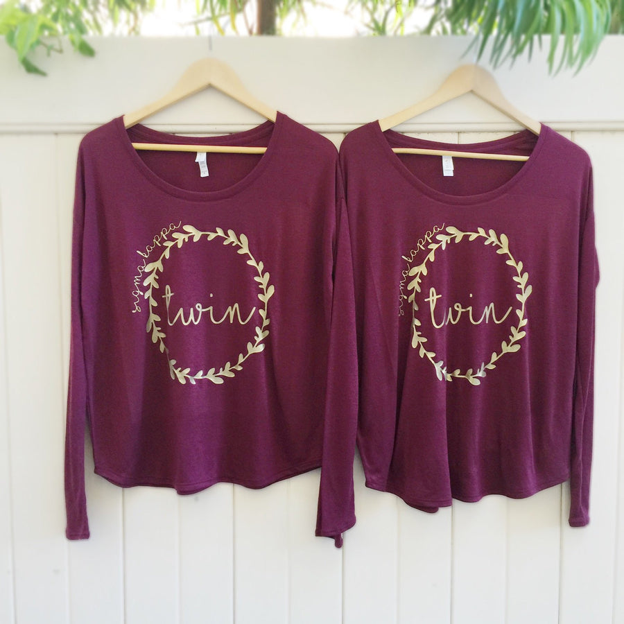 Maroon and Gold Long Sleeve Big Little Sorority Shirt