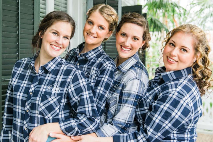 Navy Blue Wedding Party Flannel Set