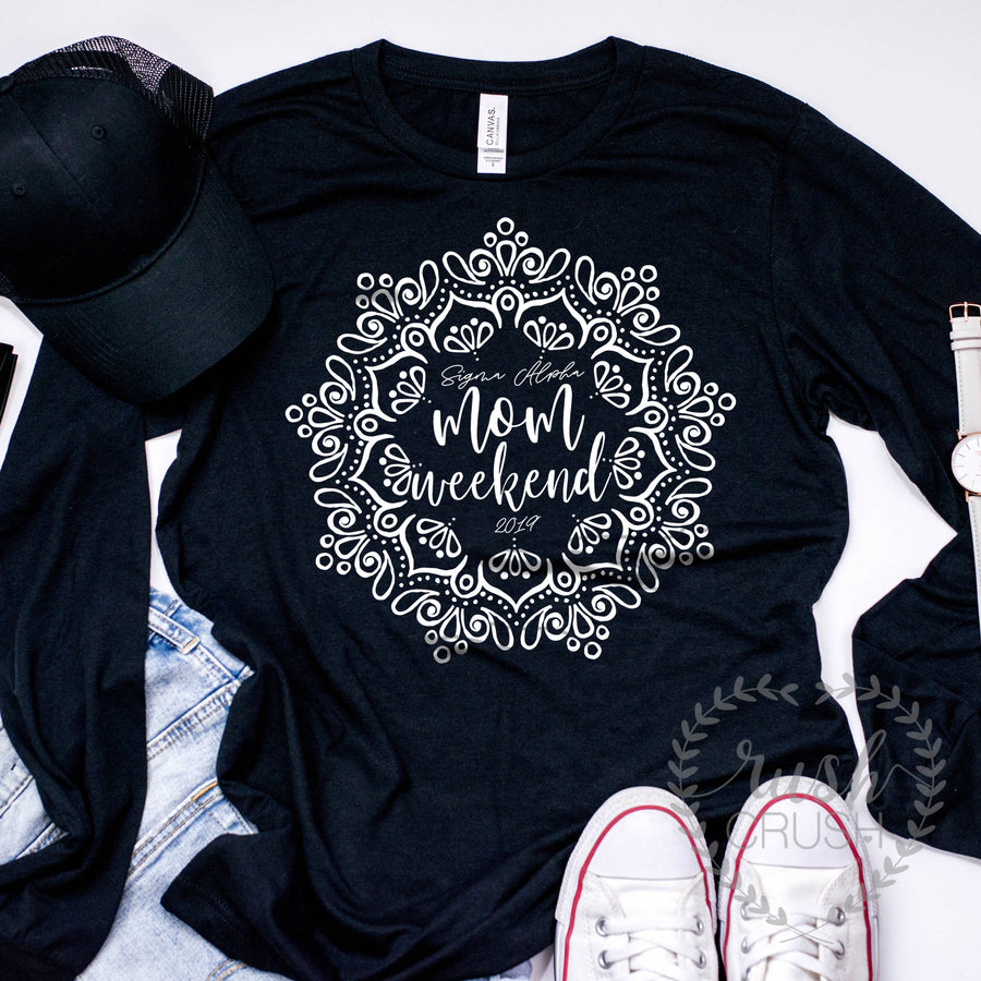 Sorority Moms Weekend Mandala Long Sleeve Tee, Available For All Organizations, Mother Daughter Weekend