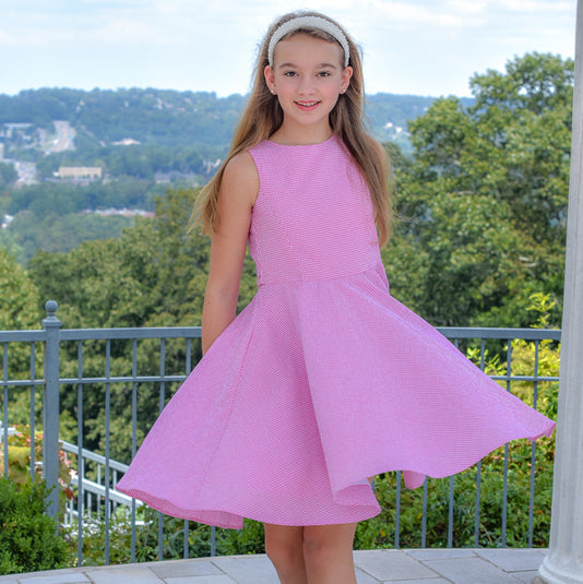 Classic Girl Clothing's pink seersucker summer dress
