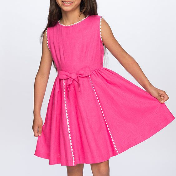 Pink linen dresses for little girls