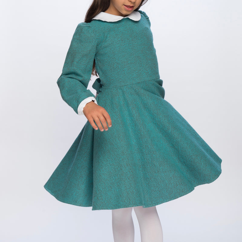 Classic Girl green flannel winter dress for girls