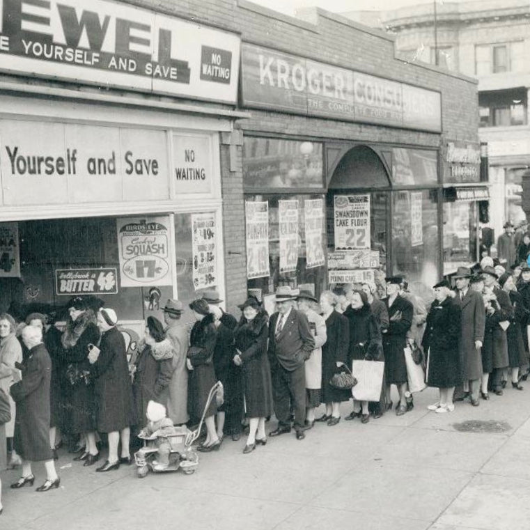 Vintage black and white photo of Black Friday