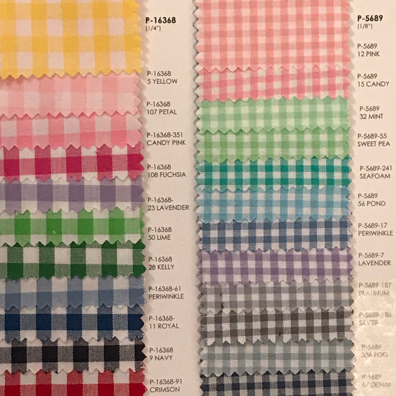 Gingham fabric color card