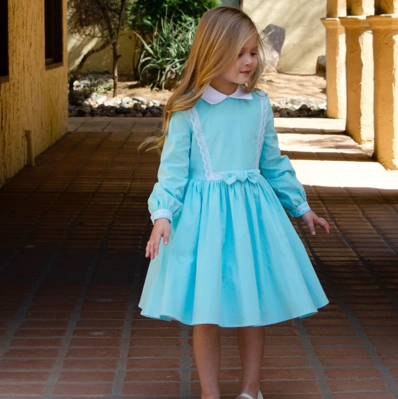 Classic Girl light blue soft long sleeve dress