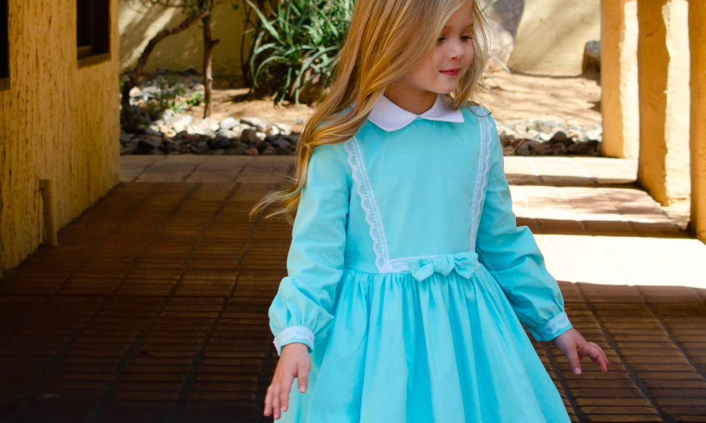 Classic Girl Clothing Blue Winter Long Sleeve Soft Dress