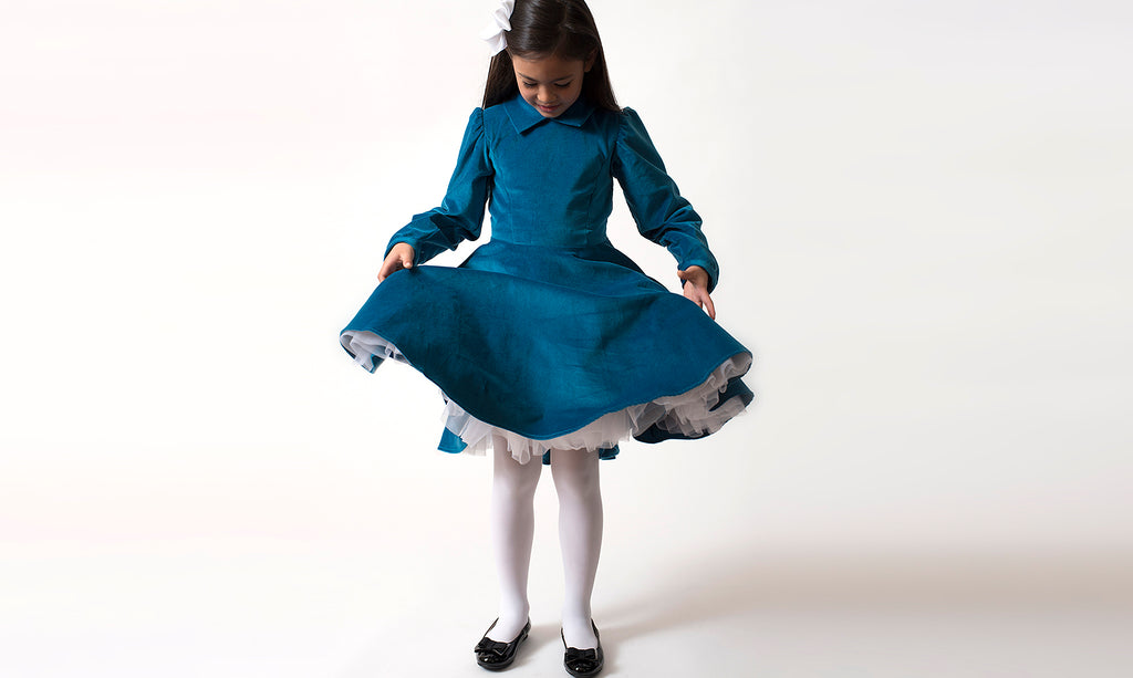 Classic Girl Clothing Blue Velvet Dress