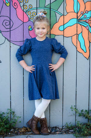 Alexis Long Sleeve T-Shirt Dress in Blue