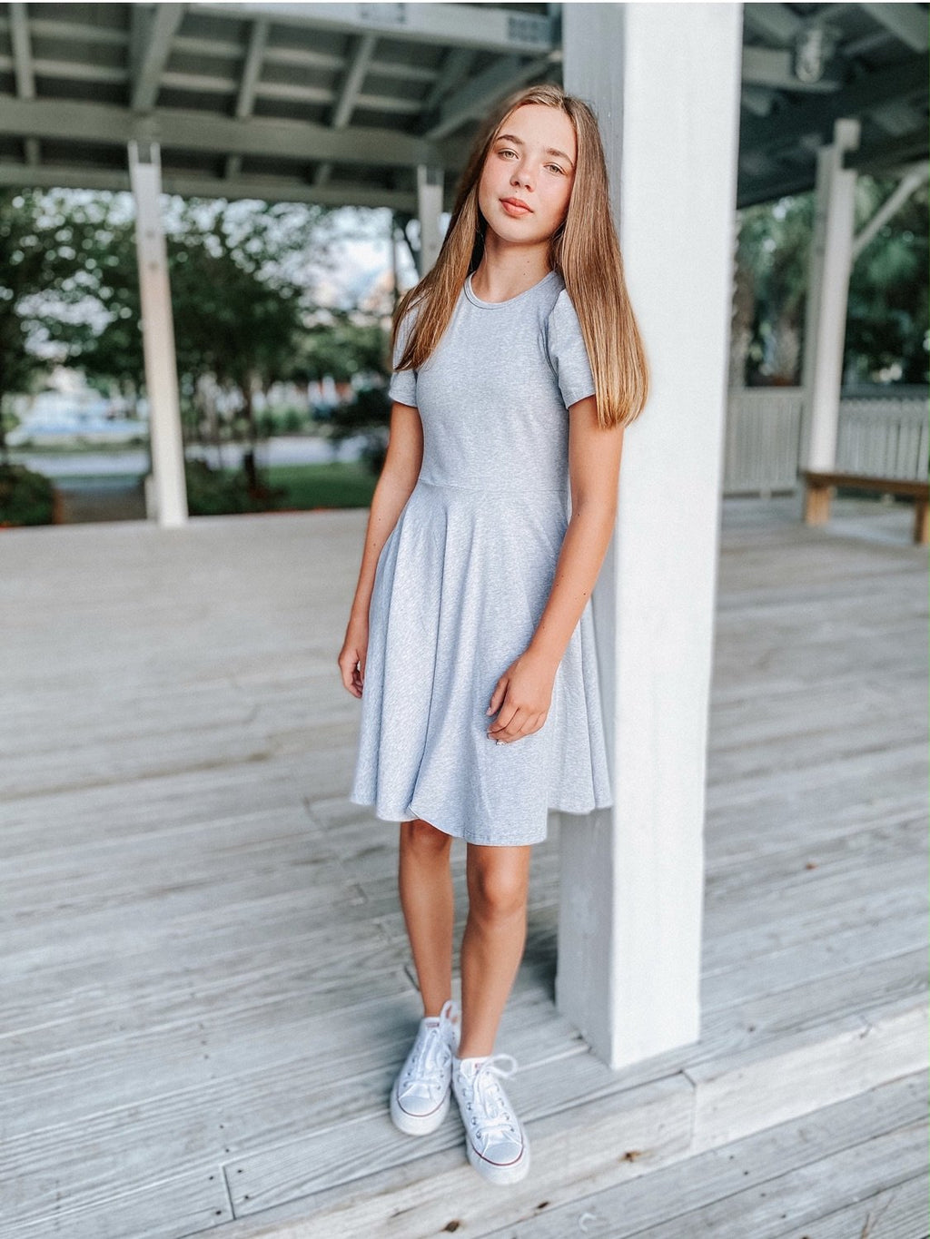 Alexis Short Sleeve T-Shirt Dress in Grey