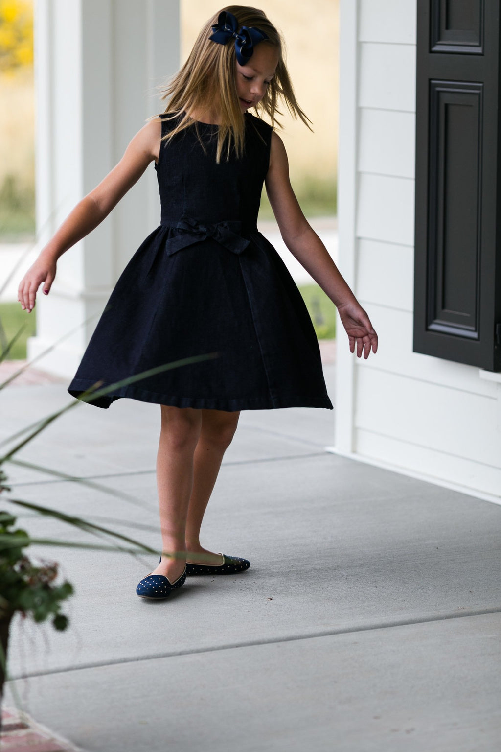 Walk in the Park, Navy Blue Denim Dress