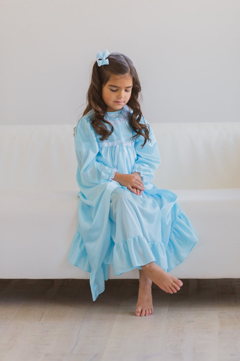 Clara Nightgown Peignoir Set in Blue