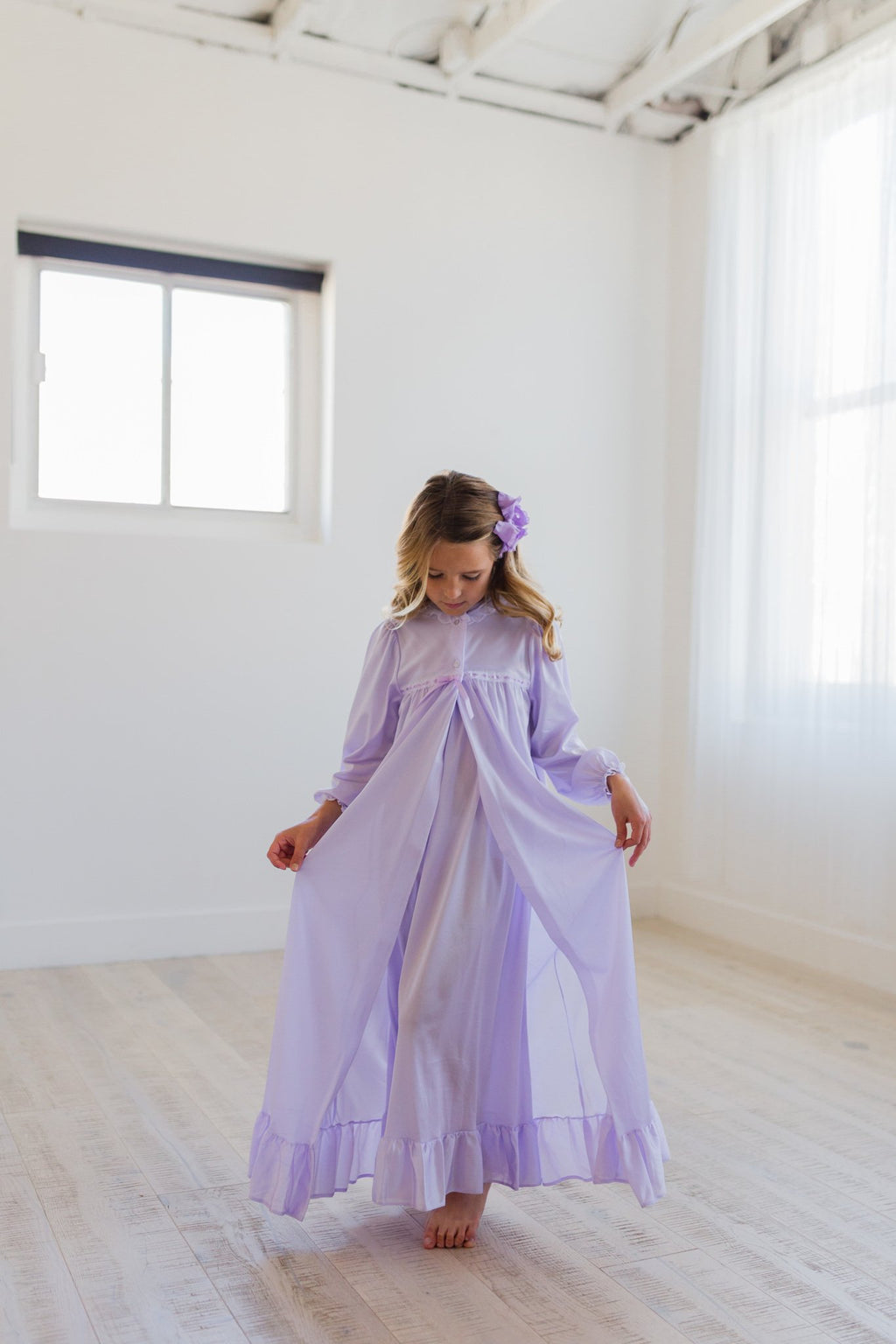 Clara Nightgown Peignoir Set in Lavender