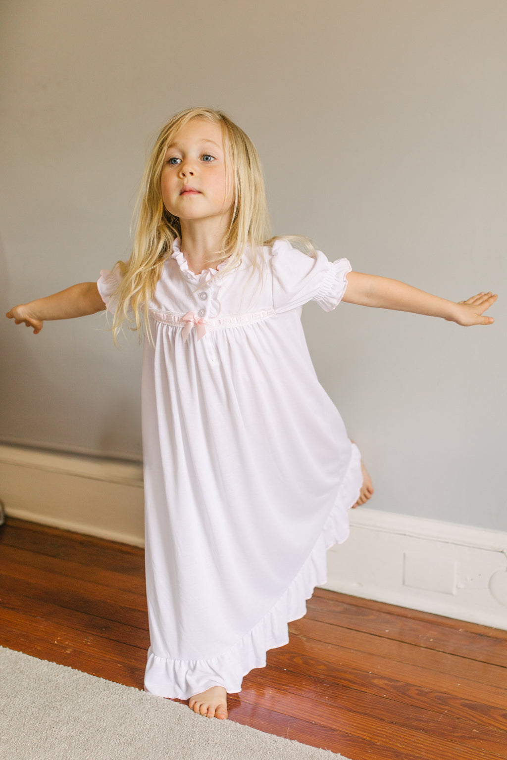 Girls Nightgown in White with Pink Ribbon Inlay