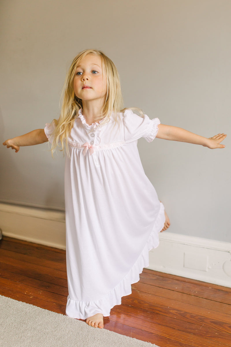 Vintage Inspired Girls Short Sleeve Nightgown in White with Pink Ribbon Inlay