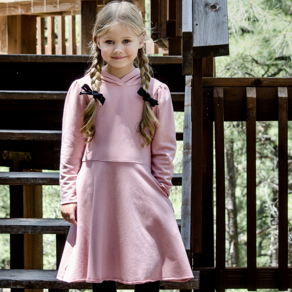 Piper Hoodie Dress in Pink