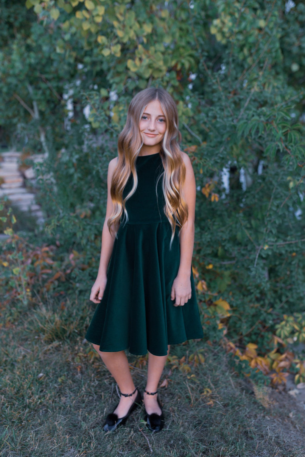 Special Occasion Dress in Green Velvet