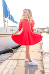 Alexis Long Sleeve T-Shirt Dress in Red
