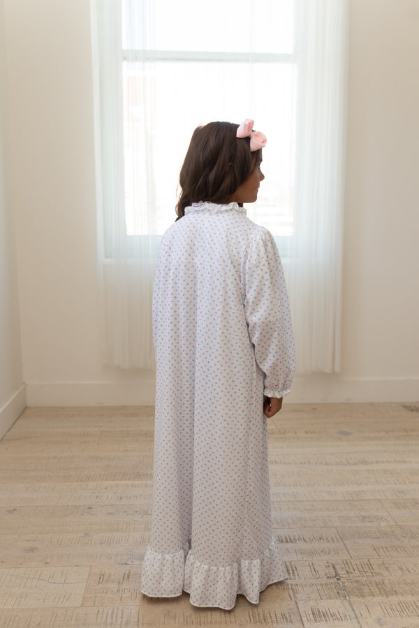 Girls Robe with Pink Rosebuds