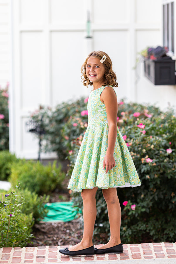 Jackie Dress in Green Flowers
