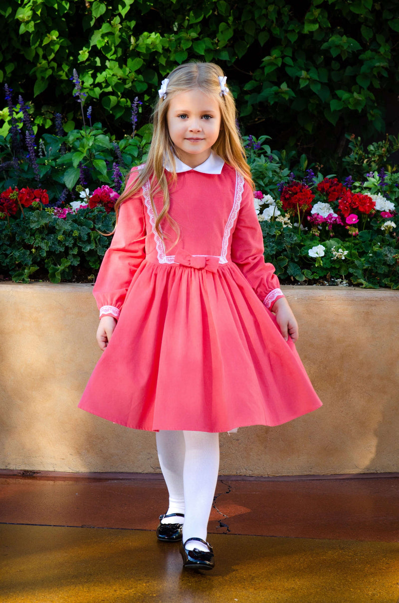 Payton Dress in Coral Classic Girl Clothing