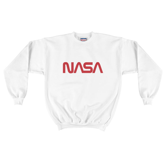 "Vintage NASA ""Worm"" Logo - Men's Crewneck Sweatshirt (White)"