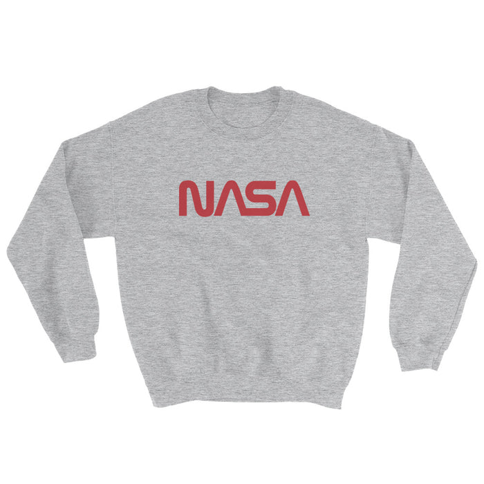 "NASA ""Worm"" Logo - Unisex Crew Neck Sweatshirt (Heather Grey)"