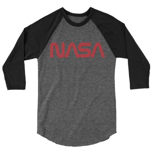 "Vintage NASA ""Worm"" Logo - Unisex Raglan T-Shirt (Black/Heather)"