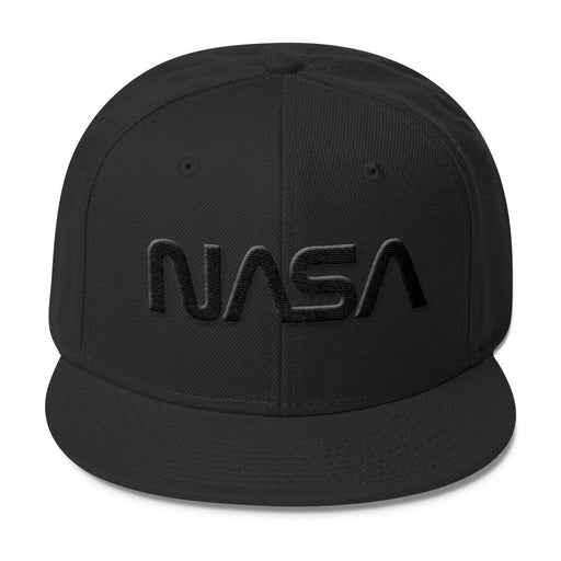 "NASA ""Worm"" Logo - Wool Blend Snapback Hat - Black on Black"