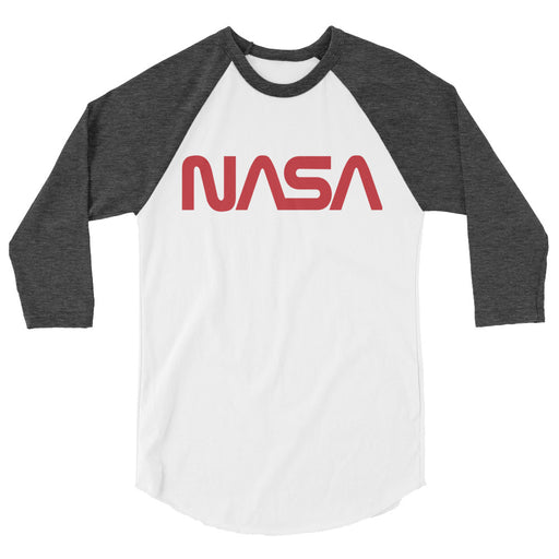 "Vintage NASA ""Worm"" Logo - Unisex Raglan (White/Heather)"