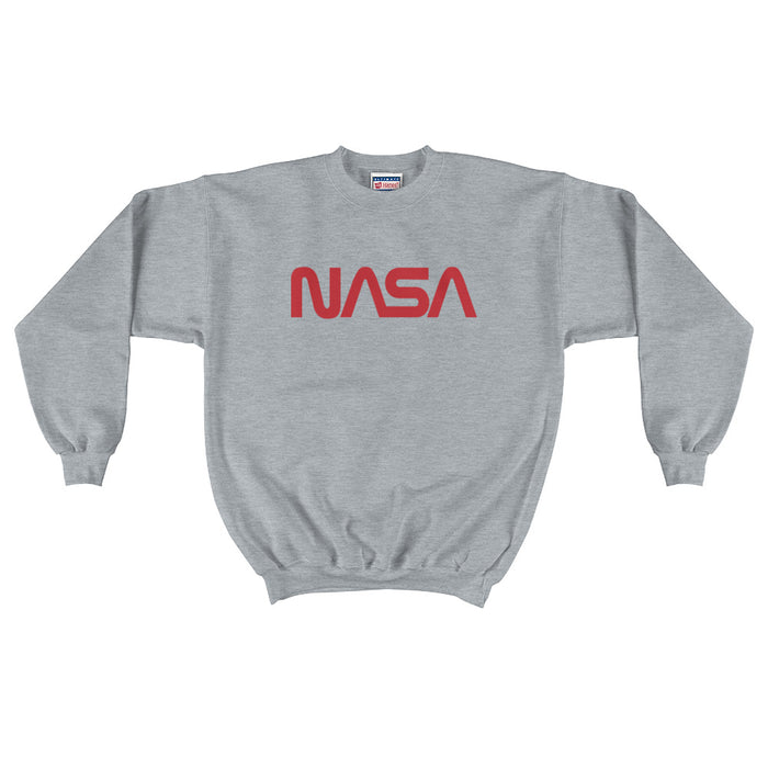"Vintage NASA ""Worm Logo - Men's Crewneck Sweatshirt (Heather Grey)"