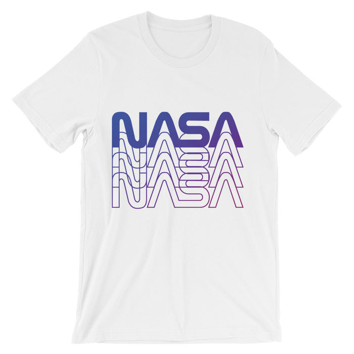 "Vintage NASA ""Worm"" Logo 80's Retro Tee (White/Purple)"