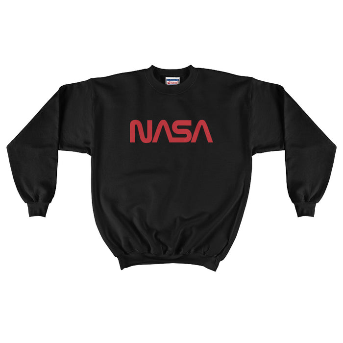 "Vintage NASA ""Worm"" Logo - Men's Crewneck Sweatshirt (Black)"