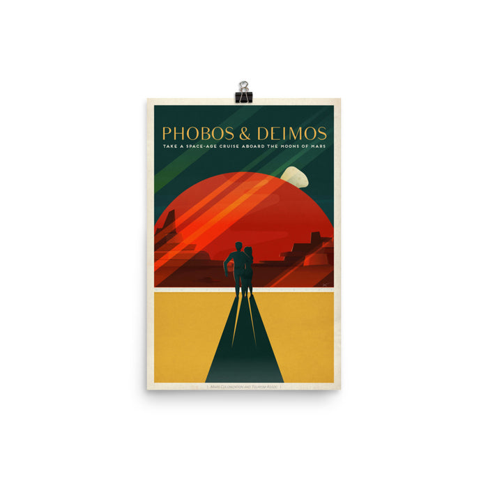 SpaceX Travel Posters - Travel to Mars; Phobos & Deimos