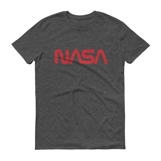 "NASA ""Worm"" Logo Men's Short Sleeve T-shirt (Heather Charcoal)"