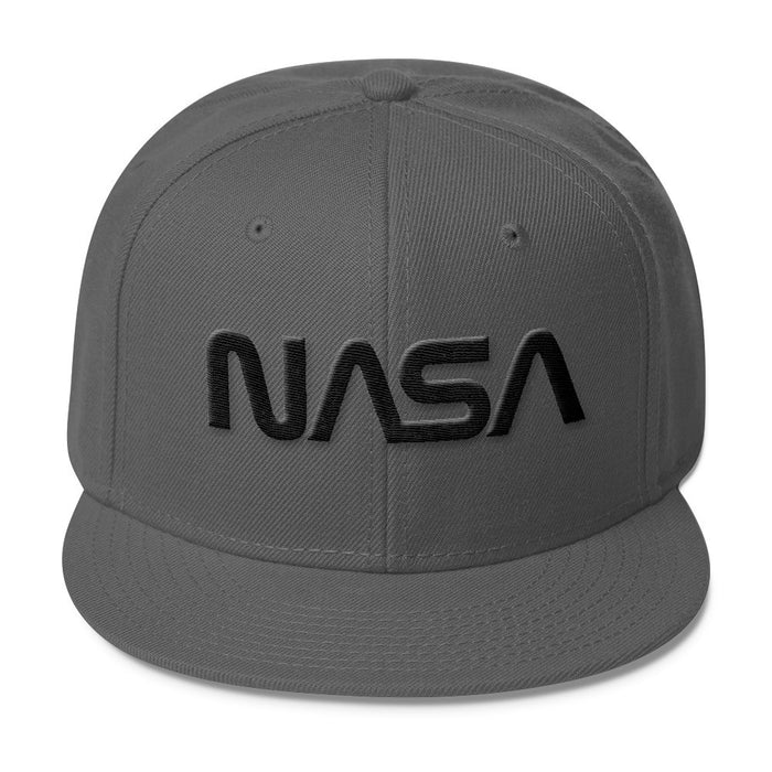 "NASA ""Worm"" Logo - Wool Blend Snapback Hat - Black on Charcoal"