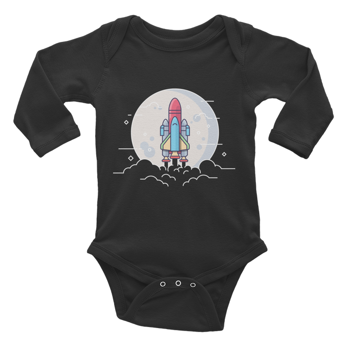 Shuttle Illustration Onesie - Infant Long Sleeve Bodysuit (Black)