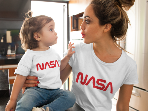 "NASA ""Worm"" Logo - Kid's Short Sleeve T-Shirt (White)"