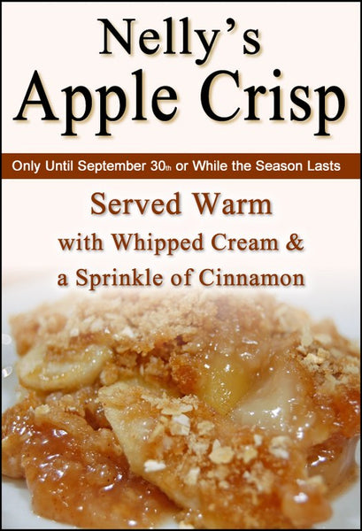 Homemade Apple Crisp in September at Our Country Hearts Restaurant