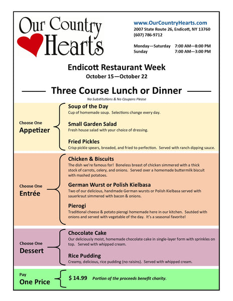 Our Country Hearts Endicott Restaurant Week Lunch & Dinner Menu