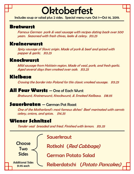Our Country Hearts Oktoberfest Menu