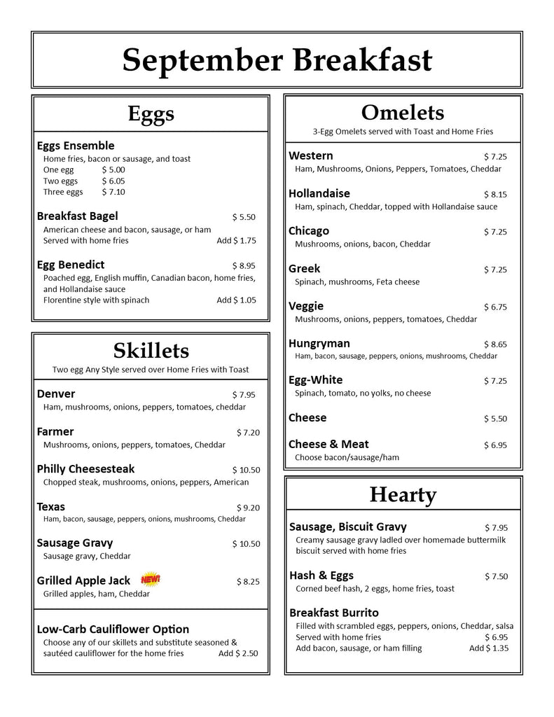 Our Country Hearts Breakfast Menu Page 1