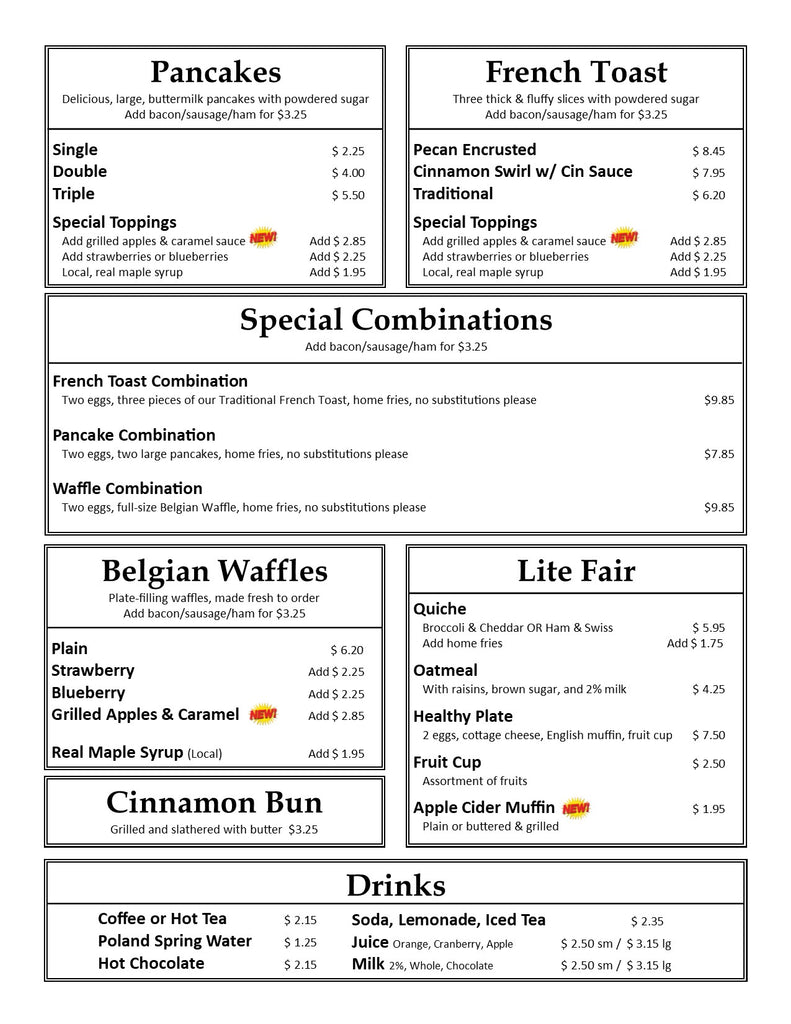 Our Country Hearts Breakfast Menu Page 2