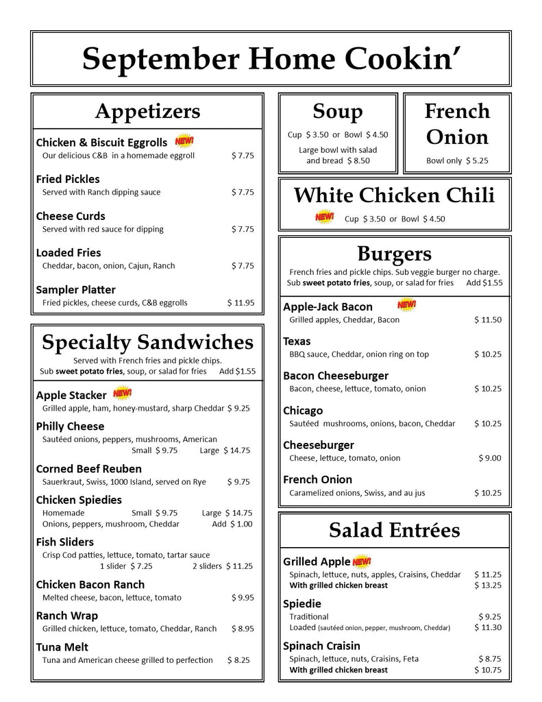 Our Country Hearts Lunch Dinner Supper Menu Page 1