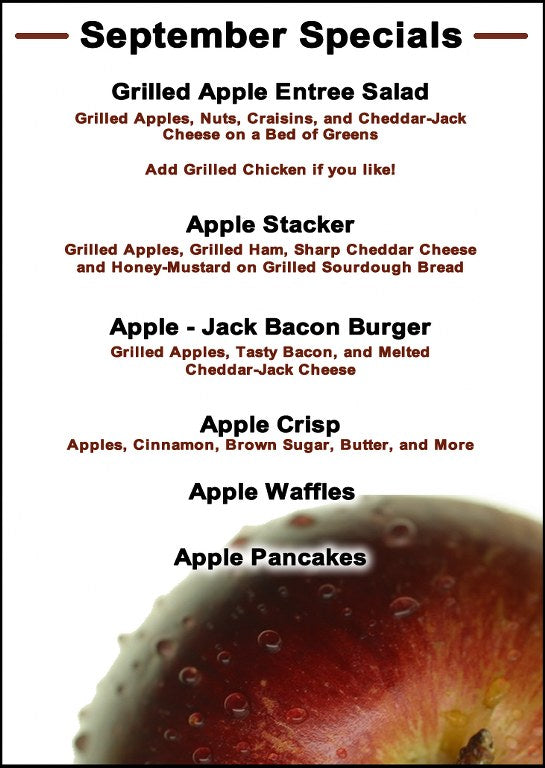 Apple Specials in Septemeber at Our Country Hearts
