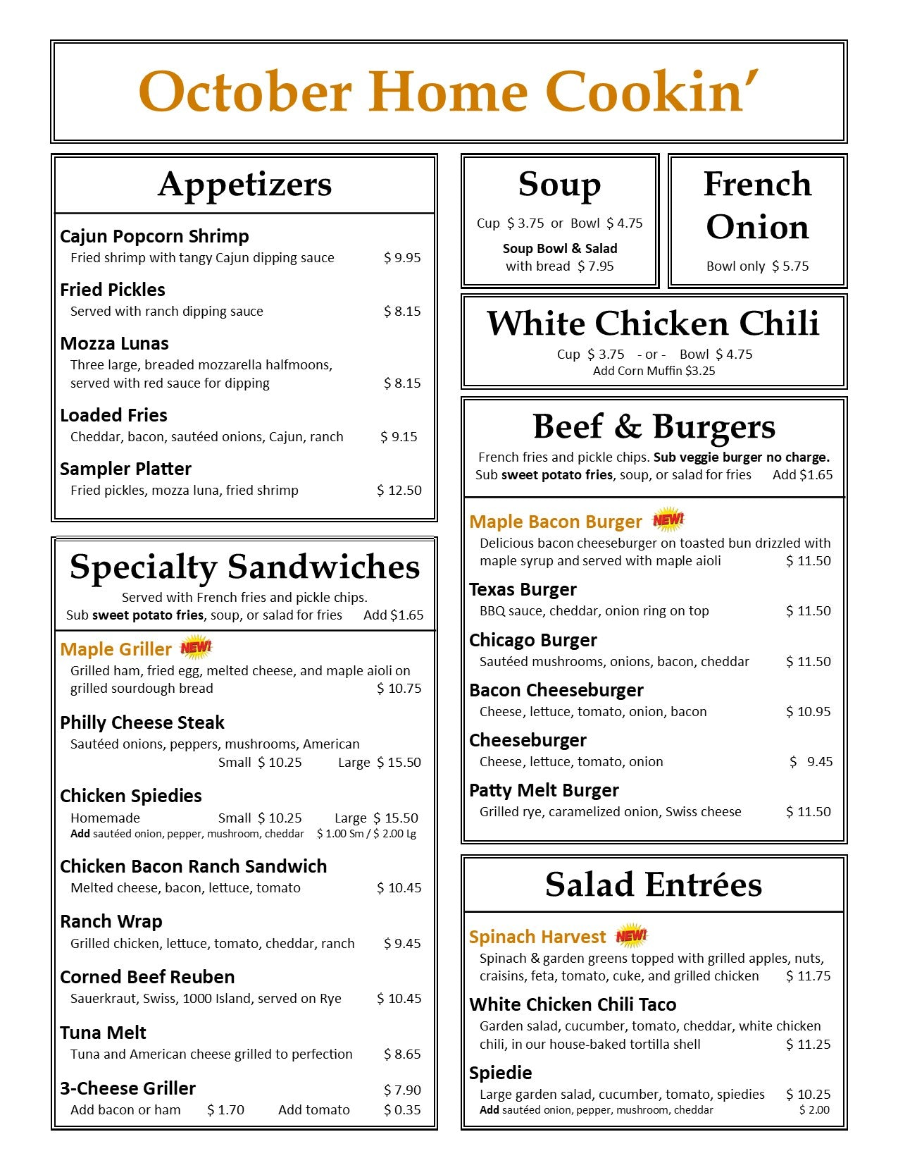 October Lunch & Dinner Menu Page 1
