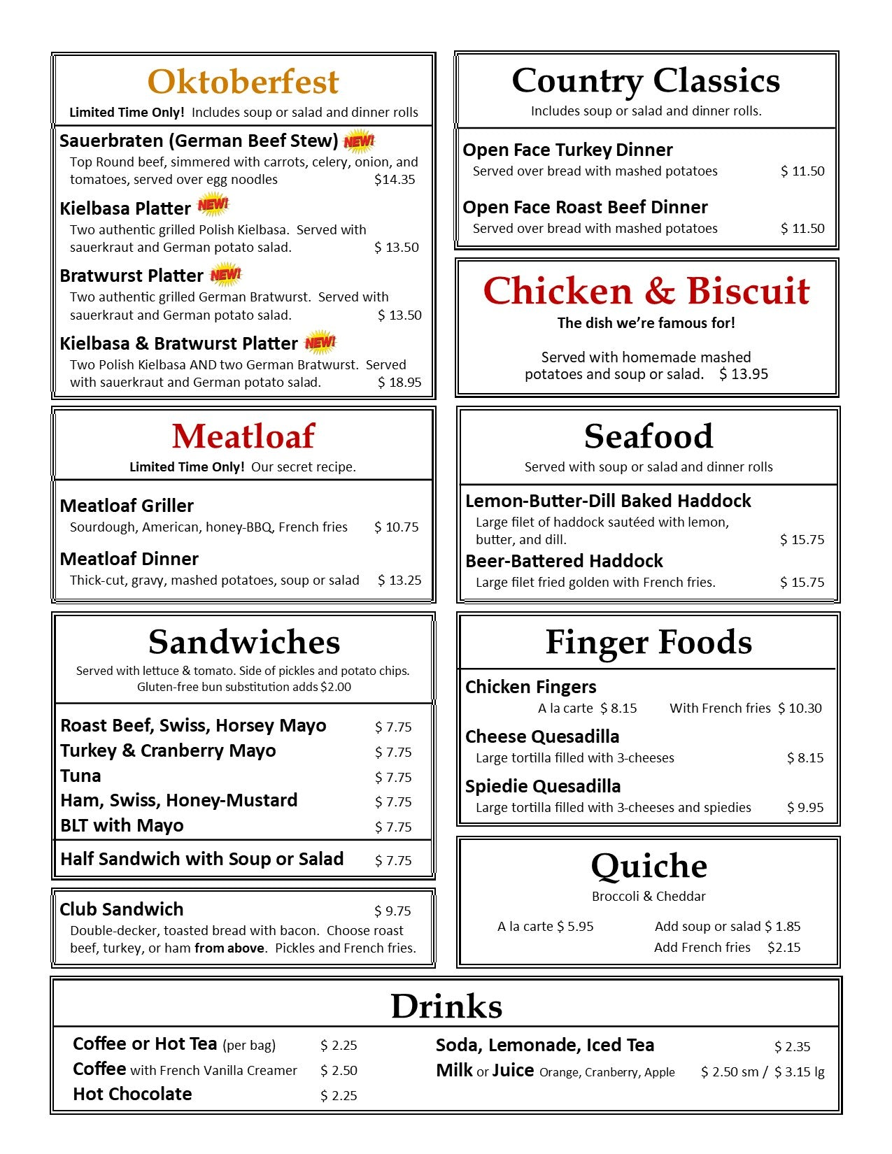 October Lunch & Dinner Menu Page 2