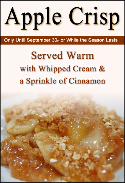 Homemade Apple Crisp at the Our Country Hearts Restaurant in September