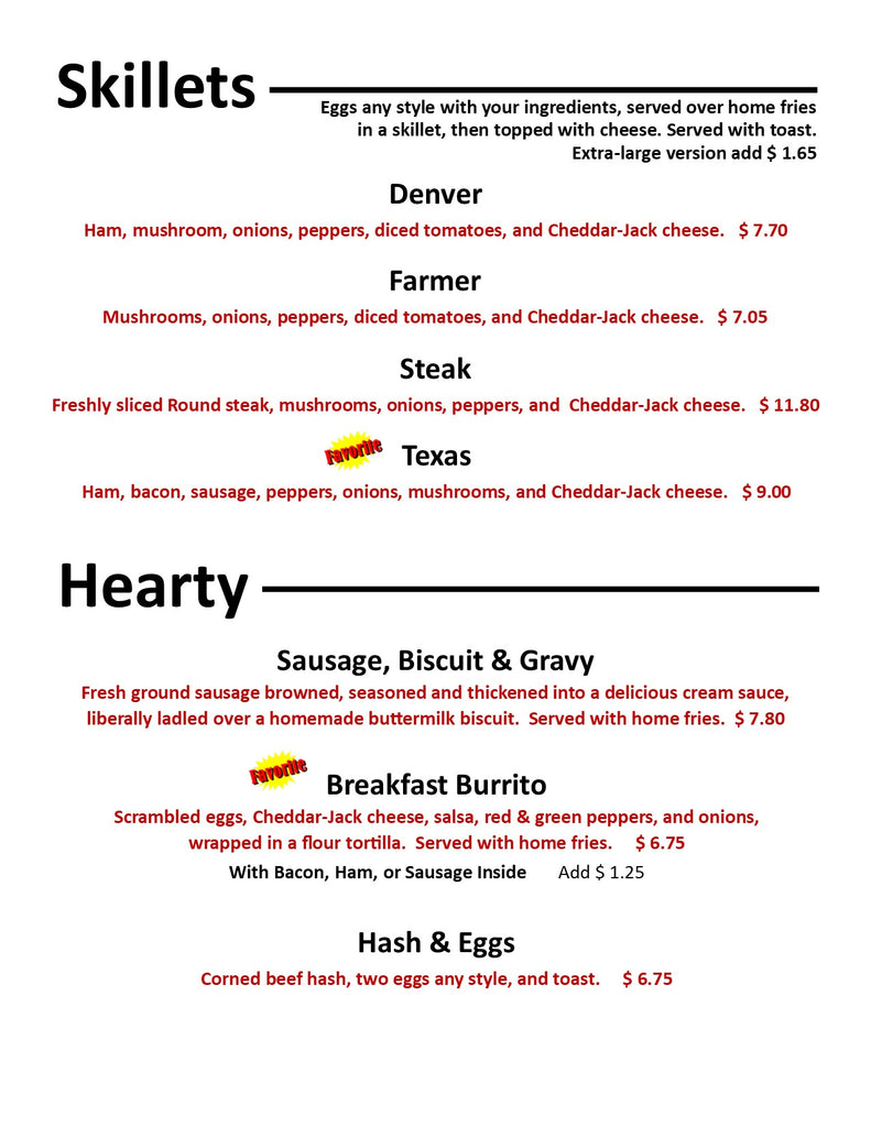 Breakfast Menu at Our Country Hearts Restaurant