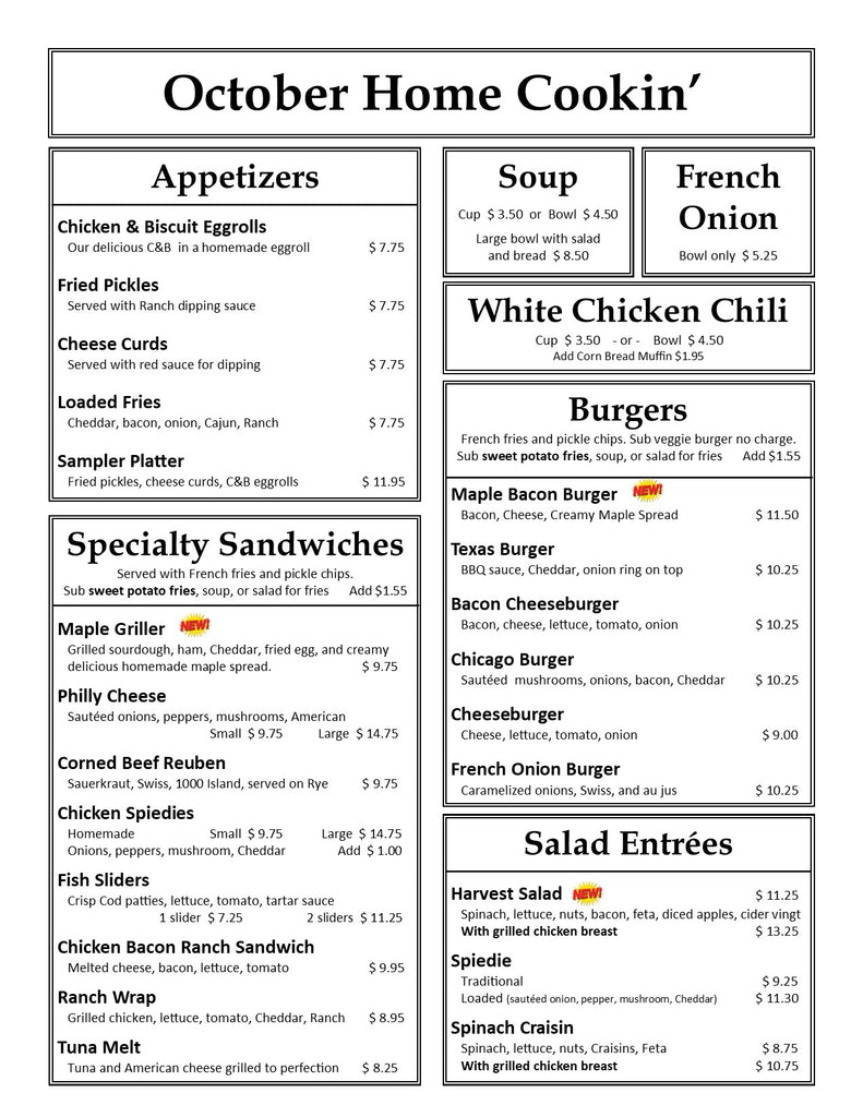October Lunch Dinner Supper Menu at Our Country Hearts, Page 1