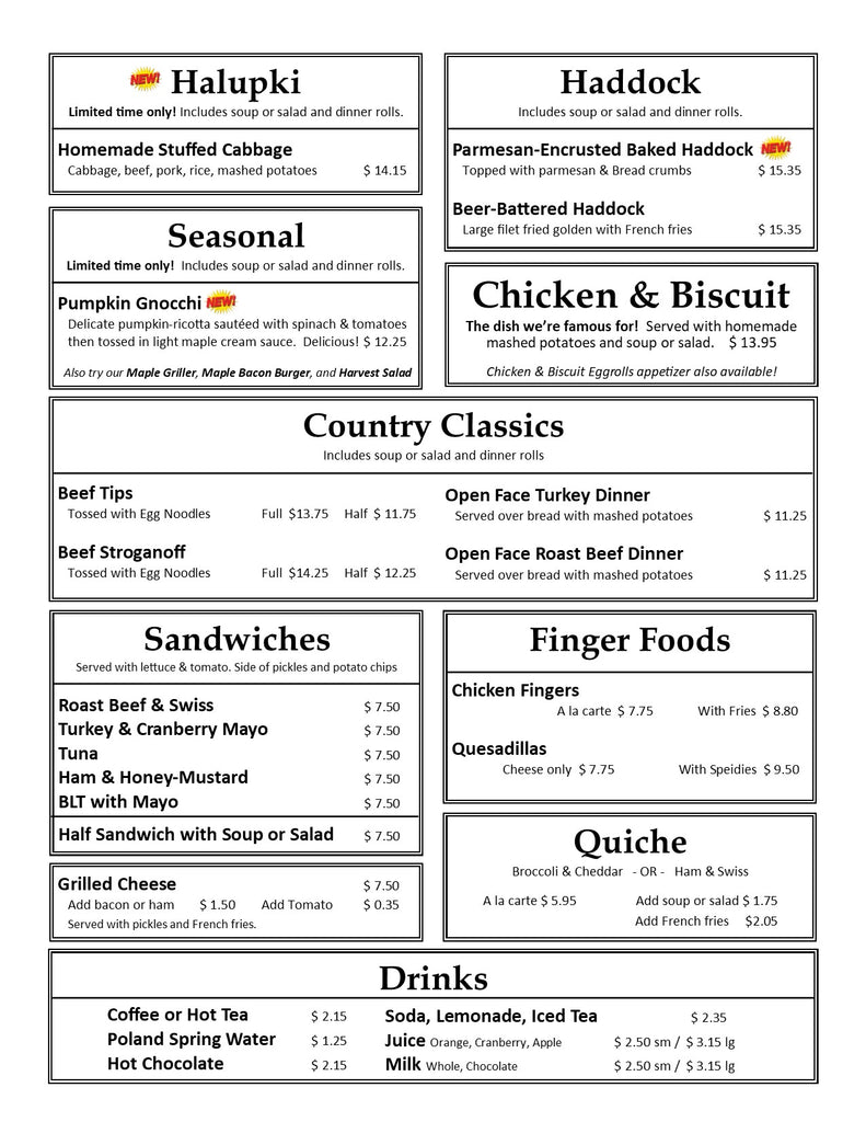 October Lunch Dinner Supper Menu at Our Country Hearts, Page 2